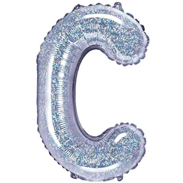 """Balon foliowy litera C, 14"""", PartyDeco, srebrny holograficzny"""