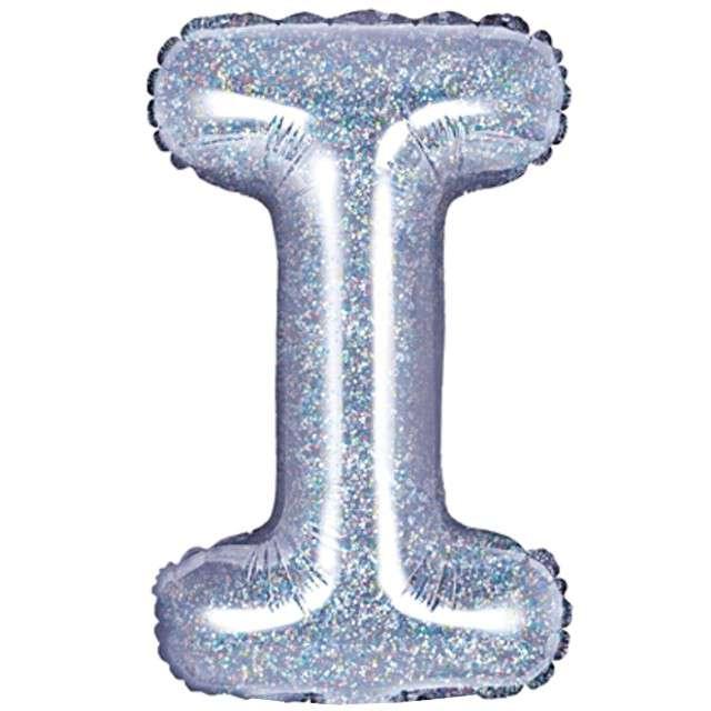 """Balon foliowy litera I, 14"""", PartyDeco, srebrny holograficzny"""