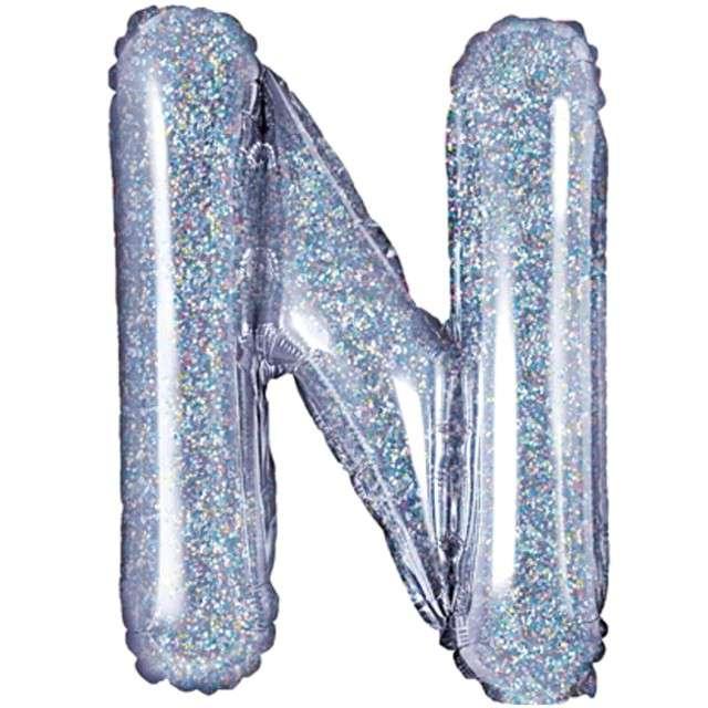 """Balon foliowy litera N, 14"""", PartyDeco, srebrny holograficzny"""