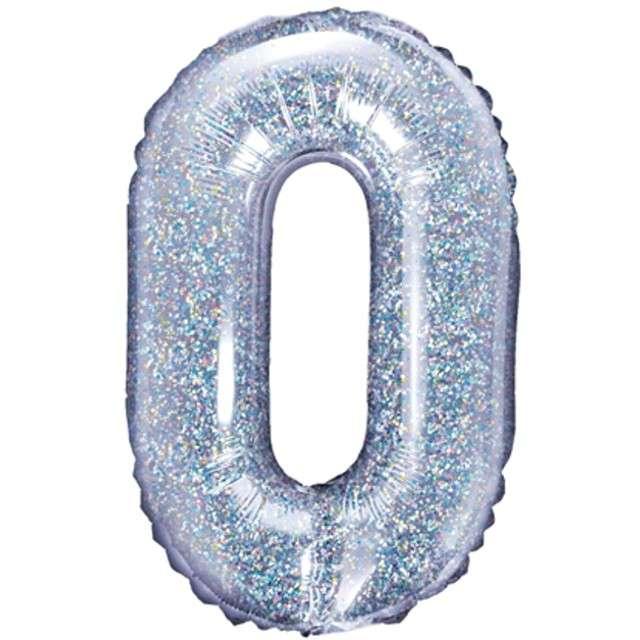 "Balon foliowy litera O, 14"", PartyDeco, srebrny holograficzny"