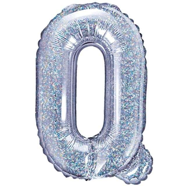 """Balon foliowy litera Q, 14"""", PartyDeco, srebrny holograficzny"""