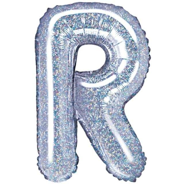 "Balon foliowy litera R, 14"", PartyDeco, srebrny holograficzny"