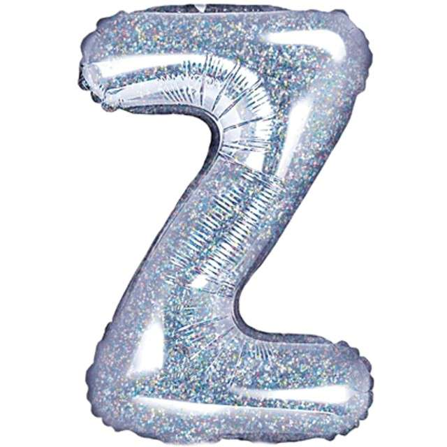 "Balon foliowy litera Z, 14"", PartyDeco, srebrny holograficzny"