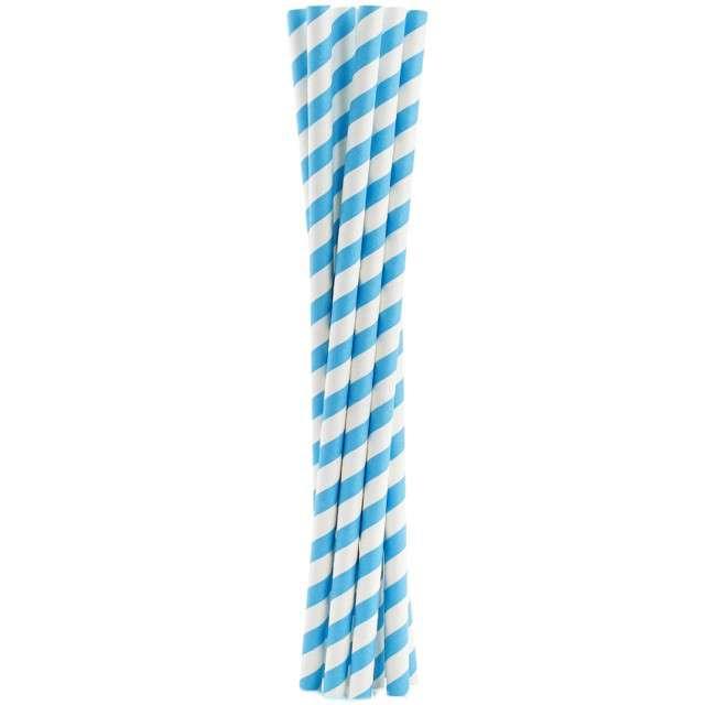 """Słomki papierowe """"Shake"""", niebieskie, GODAN, 25 cm, 10 szt"""