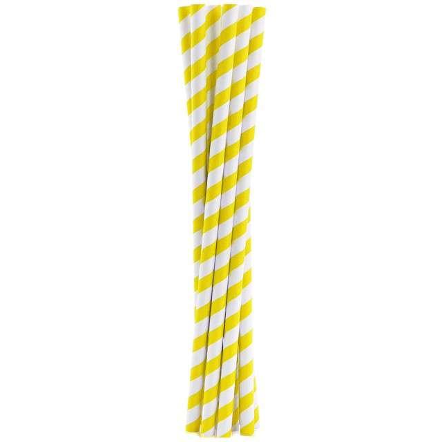 """Słomki papierowe """"Shake"""", żółte, GODAN, 25 cm, 10 szt"""