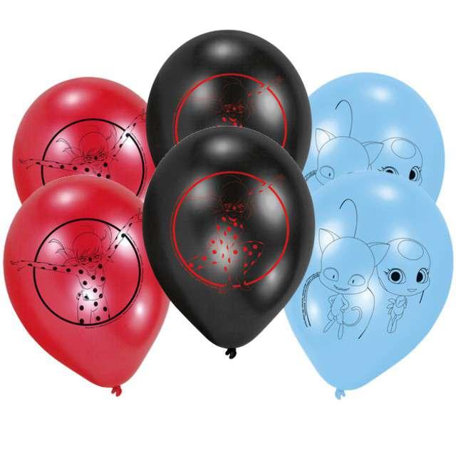 """Balony """"Miraculous - Biedronka i Czarny Kot"""", pastel mix, AMSCAN, 9"""", 6 szt"""