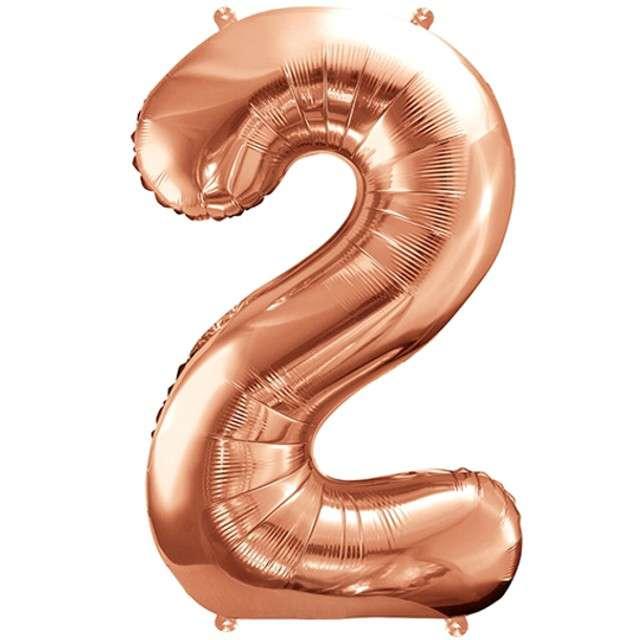 """Balon foliowy cyfra 2, 34"""", PartyDeco, różowe złoto"""
