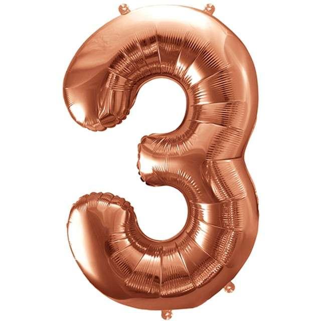 """Balon foliowy cyfra 3, 34"""", PartyDeco, różowe złoto"""