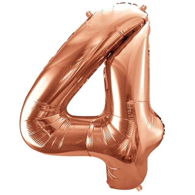 """Balon foliowy cyfra 4, 34"""", PartyDeco, różowe złoto"""