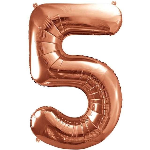 """Balon foliowy cyfra 5, 34"""", PartyDeco, różowe złoto"""