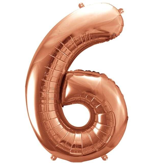 """Balon foliowy cyfra 6, 34"""", PartyDeco, różowe złoto"""