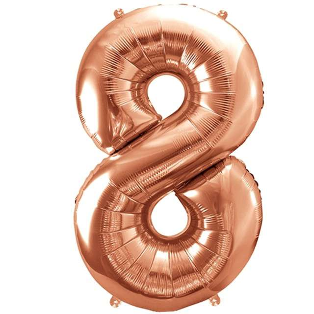 """Balon foliowy cyfra 8, 34"""", PartyDeco, różowe złoto"""