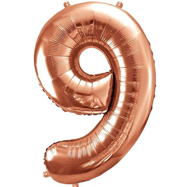 """Balon foliowy cyfra 9, 34"""", PartyDeco, różowe złoto"""