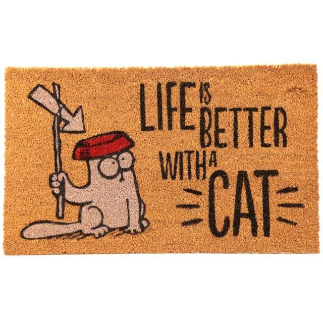 "Wycieraczka ""Kot Simona - Life is Better with a Cat"", PUCKATOR, 75 x 45 cm"