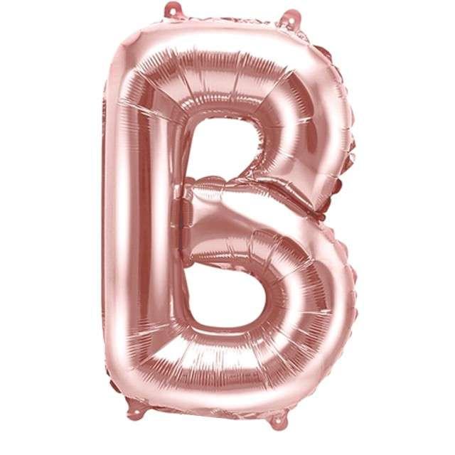 """Balon foliowy litera B , 14"""", PartyDeco, różowo-złoty"""