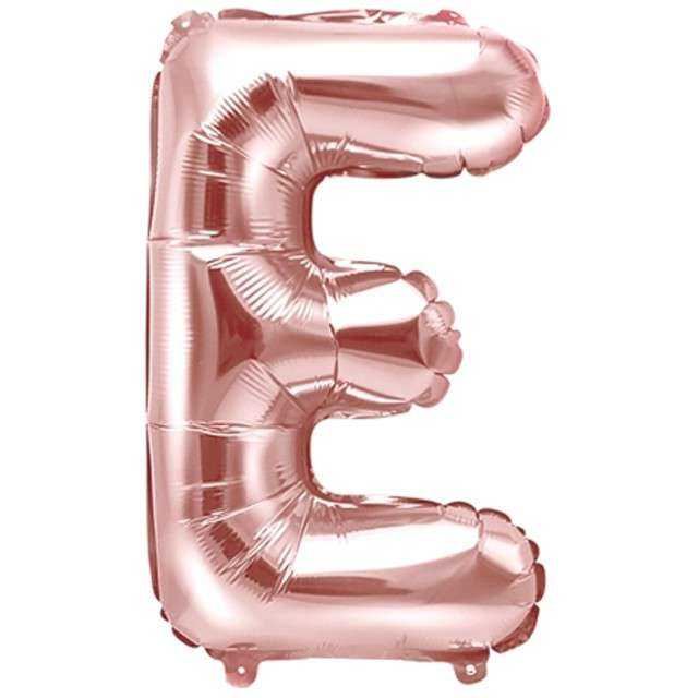 """Balon foliowy litera E , 14"""", PartyDeco, różowo-złoty"""