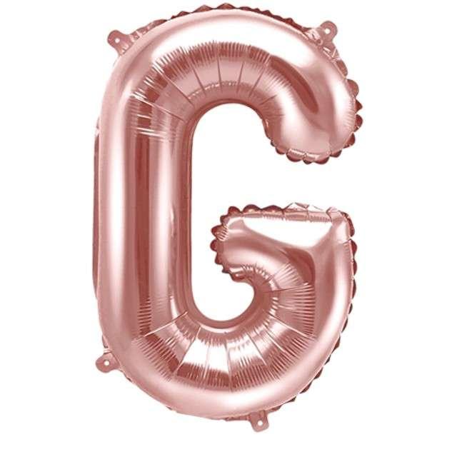 """Balon foliowy litera G , 14"""", PartyDeco, różowo-złoty"""