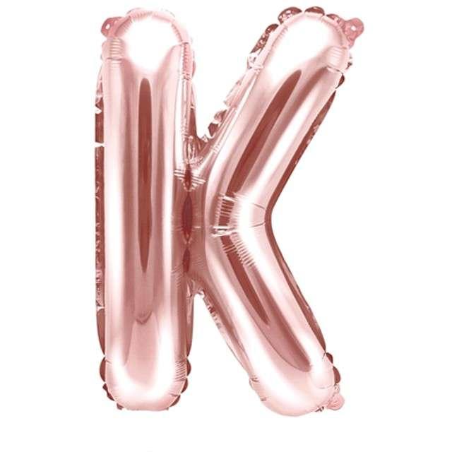 """Balon foliowy litera K , 14"""", PartyDeco, różowo-złoty"""