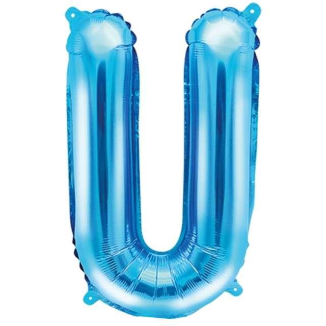 """Balon foliowy litera U, 14"""", PartyDeco, niebieski"""