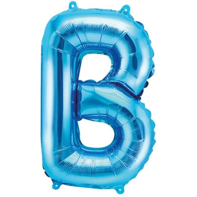 """Balon foliowy litera B, 14"""", PartyDeco, niebieski"""