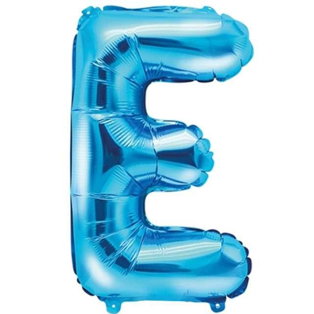 """Balon foliowy litera E, 14"""", PartyDeco, niebieski"""