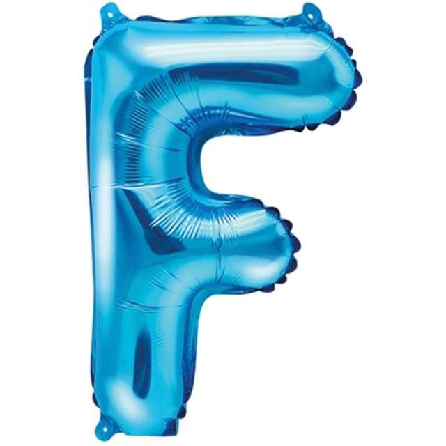"""Balon foliowy litera F, 14"""", PartyDeco, niebieski"""