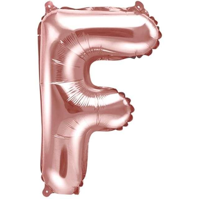 """Balon foliowy litera F, 14"""", PartyDeco, różowo-złoty"""