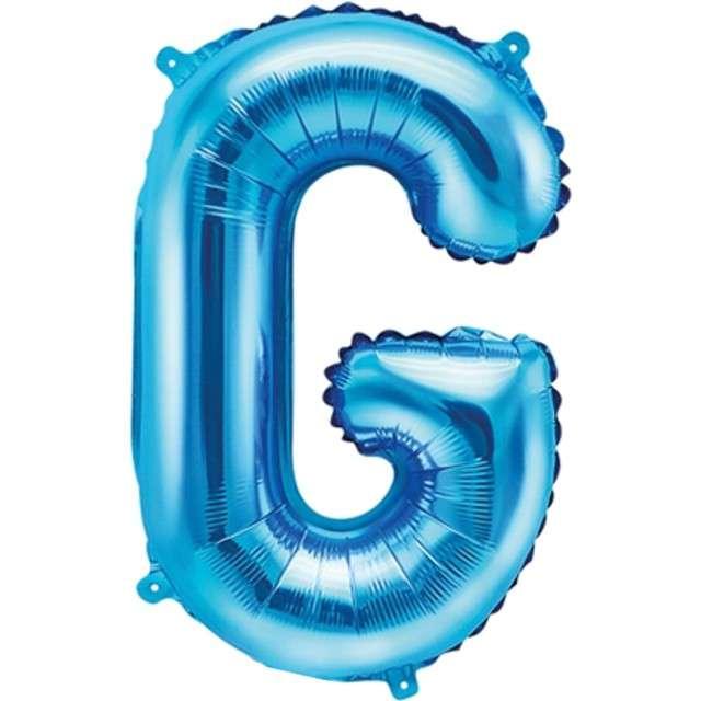 """Balon foliowy litera G, 14"""", PartyDeco, niebieski"""