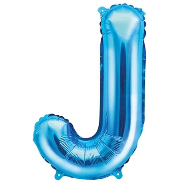 """Balon foliowy litera J, 14"""", PartyDeco, niebieski"""