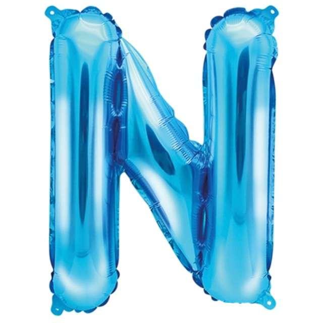 """Balon foliowy litera N, 14"""", PartyDeco, niebieski"""