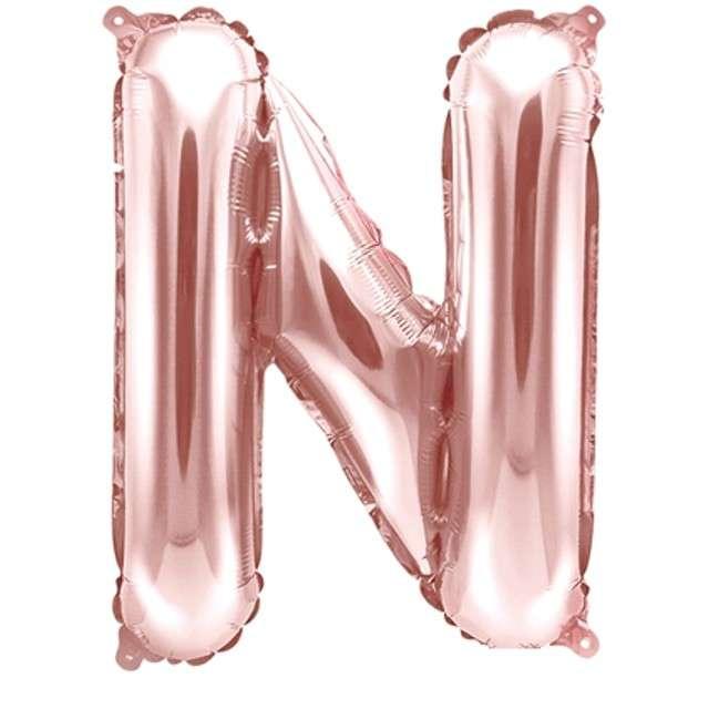 """Balon foliowy litera N, 14"""", PartyDeco, różowo-złoty"""