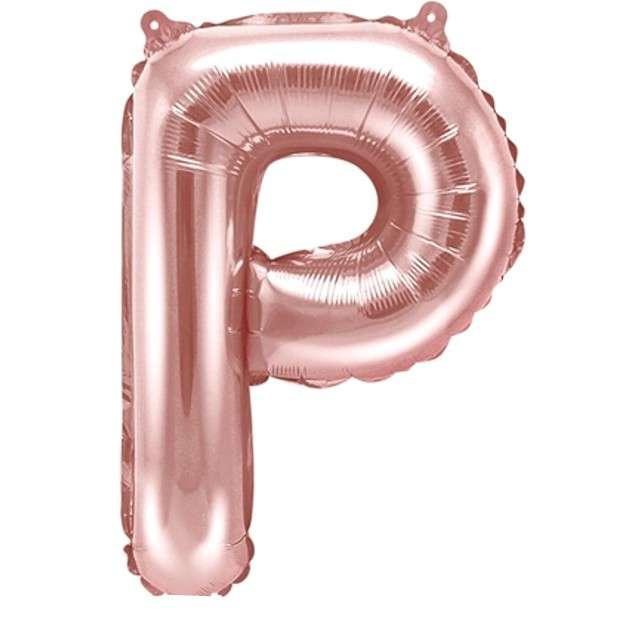 """Balon foliowy litera P, 14"""", PartyDeco, różowo-złoty"""