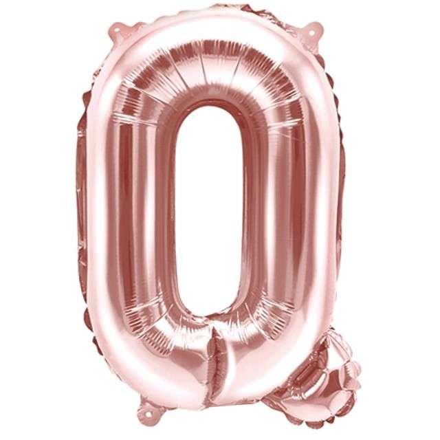 """Balon foliowy litera Q , 14"""", PartyDeco, różowo-złoty"""