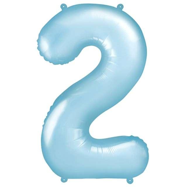 """Balon foliowy cyfra 2, 34"""", PartyDeco, niebieski jasny"""
