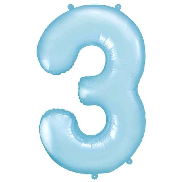 """Balon foliowy cyfra 3, 34"""", PartyDeco, niebieski jasny"""