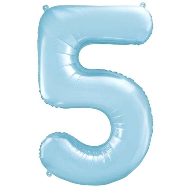 """Balon foliowy cyfra 5, 34"""", PartyDeco, niebieski jasny"""