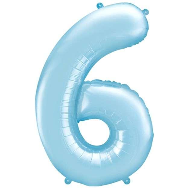 """Balon foliowy cyfra 6, 34"""", PartyDeco, niebieski jasny"""