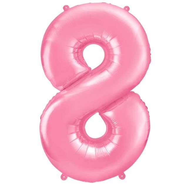 """Balon foliowy cyfra 8, 34"""", PartyDeco, różowy"""