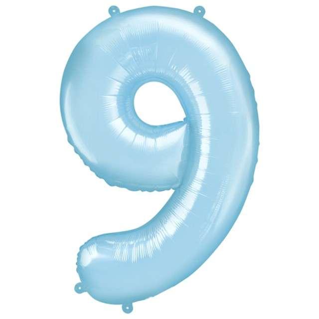 """Balon foliowy cyfra 9, 34"""", PartyDeco, niebieski jasny"""