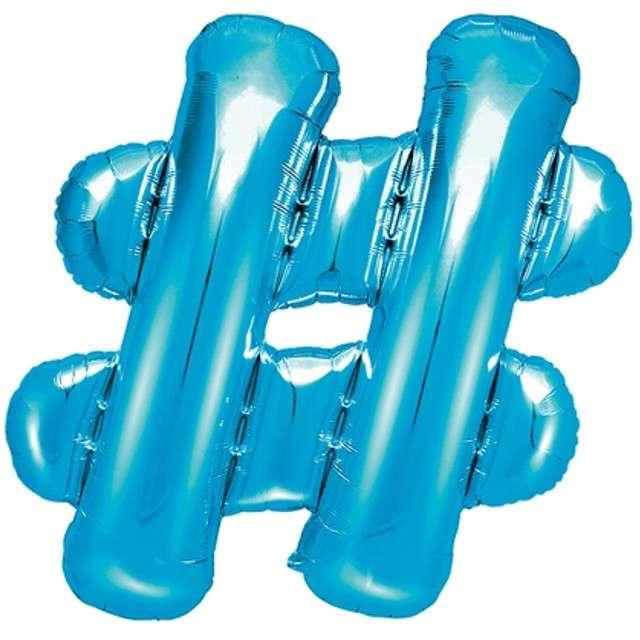 """Balon foliowy znak # - HASH, 14"""" , PartyDeco, niebieski"""
