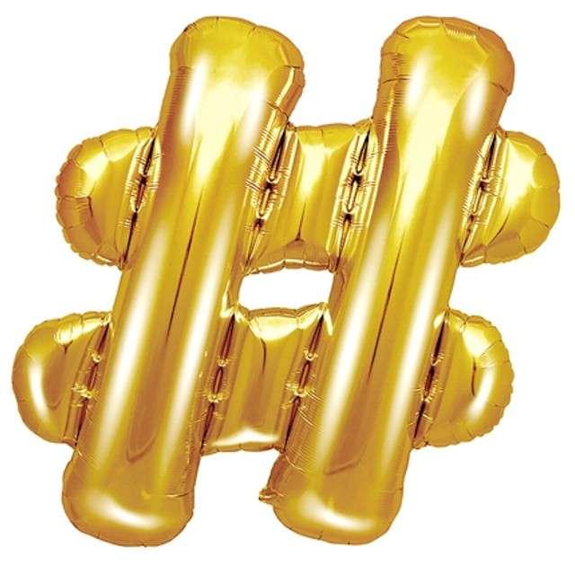 """Balon foliowy znak # - HASH, 14"""" , PartyDeco, złoty"""