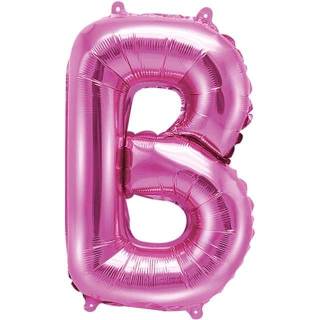 """Balon foliowy litera B, 14"""", PartyDeco, różowy ciemny"""