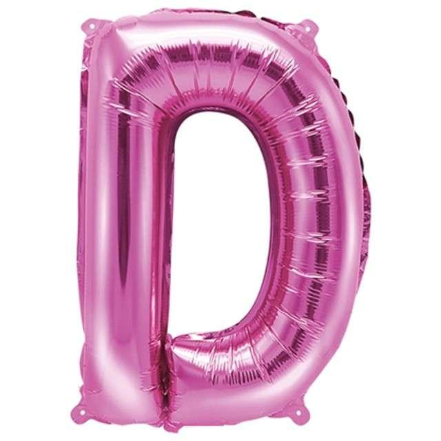 """Balon foliowy litera D, 14"""", PartyDeco, różowy ciemny"""