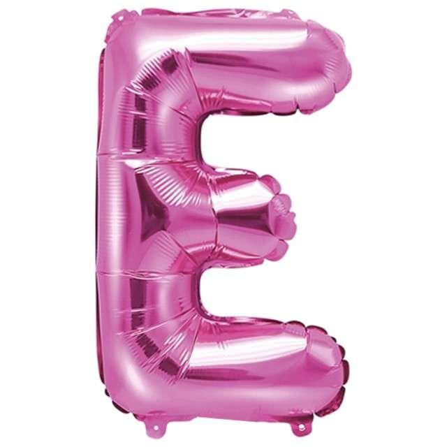 """Balon foliowy litera E, 14"""", PartyDeco, różowy ciemny"""