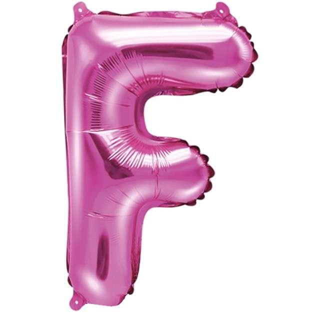 """Balon foliowy litera F, 14"""", PartyDeco, różowy ciemny"""