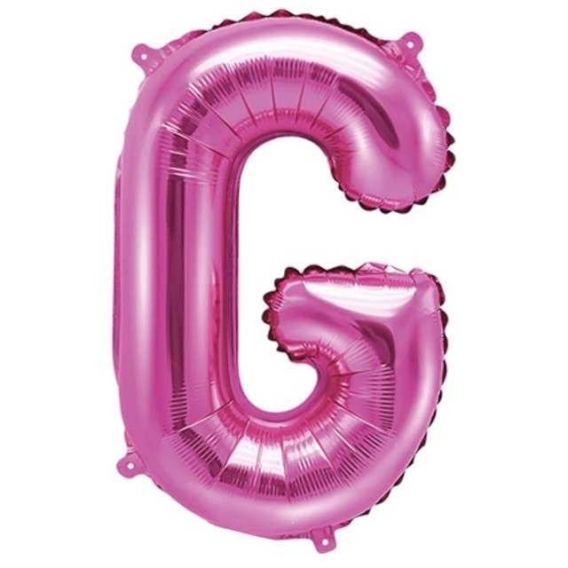 """Balon foliowy litera G, 14"""", PartyDeco, różowy ciemny"""