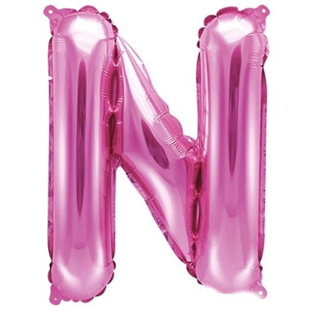 """Balon foliowy litera N, 14"""", PartyDeco, różowy ciemny"""