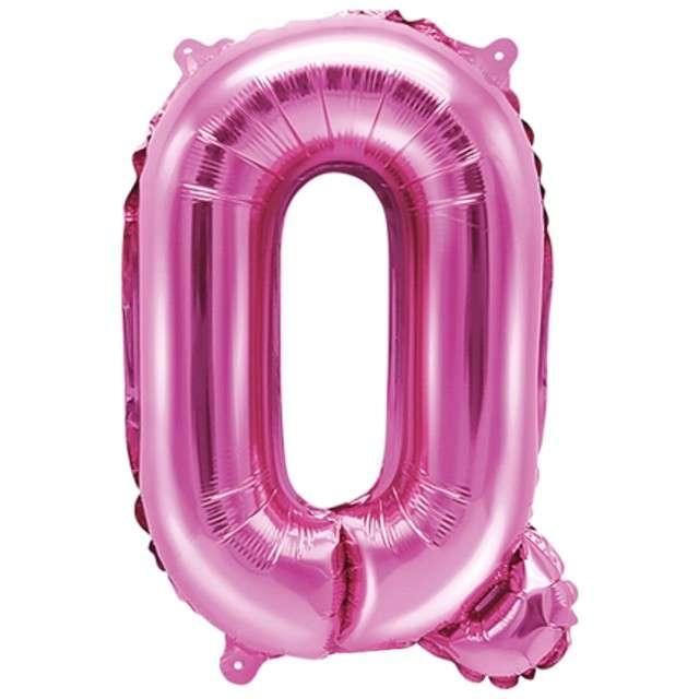 """Balon foliowy litera Q, 14"""", PartyDeco, różowy ciemny"""