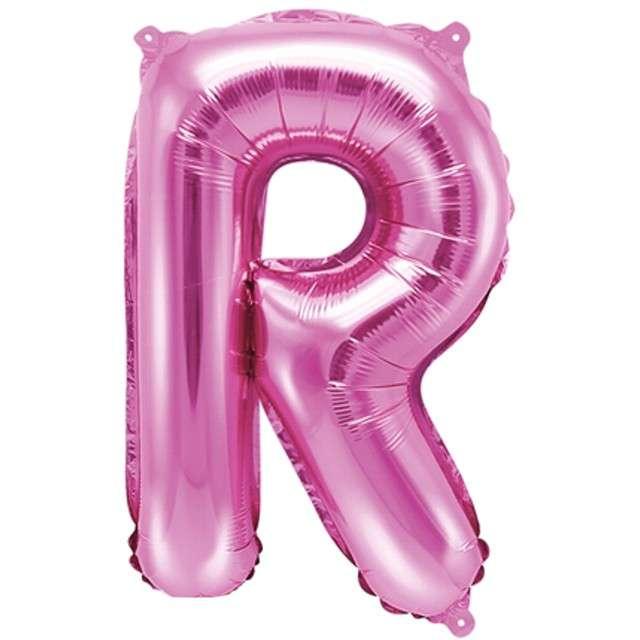 """Balon foliowy litera R, 14"""", PartyDeco, różowy ciemny"""