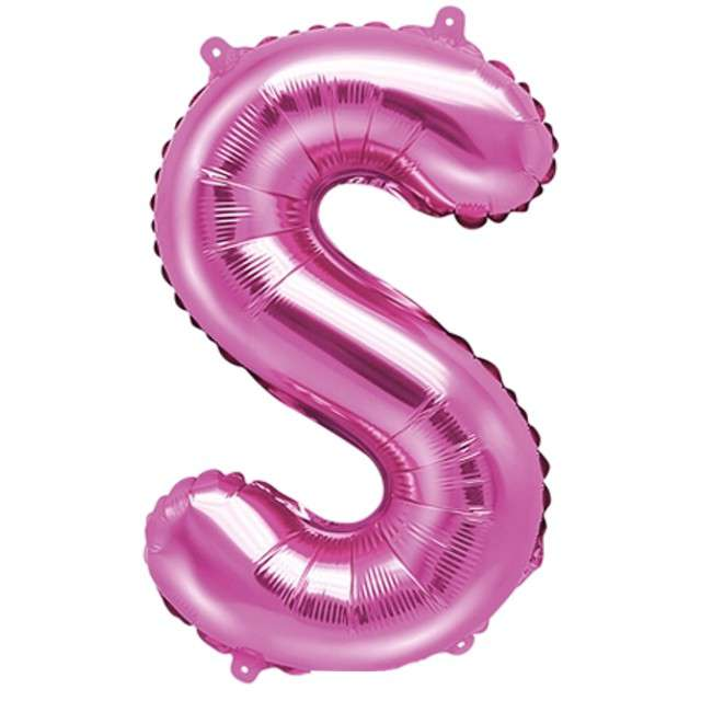 """Balon foliowy litera S, 14"""", PartyDeco, różowy ciemny"""